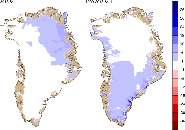 Left: Map of the surface mass balance today (in mm water equivalent per day). Right: The average surface mass balance for today's calendar date over the period 1990-2013.